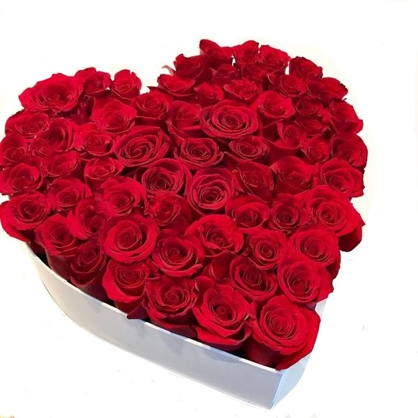 Box/Scatola a cuore 50 rose rosse
