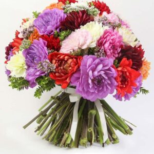 Bouquet misto con dalie colorate