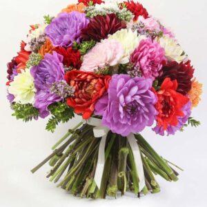 Bouquet misto con dalie colorate