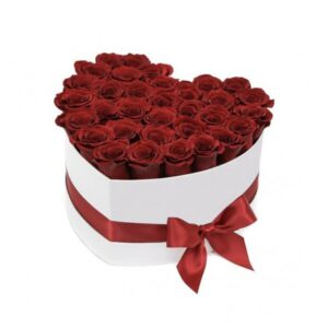Box/Scatola a cuore 30 rose rosse