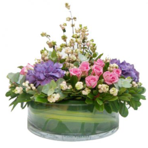 composizione fiori misti in vaso in vetro