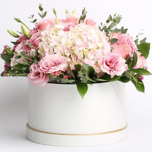 Box/Scatola scatola fiori di stagione sulle tonalità del rosa