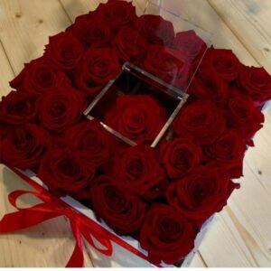Box/Scatola elegante 25 rose rosse