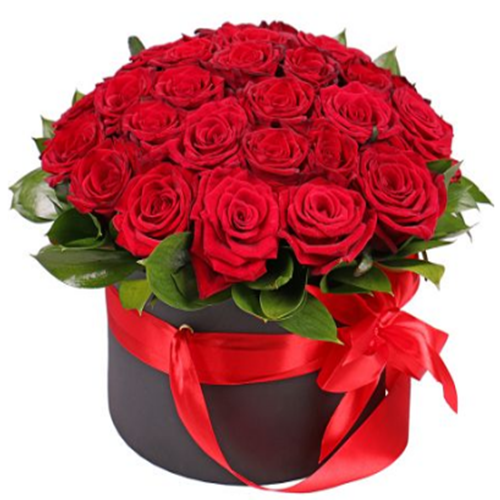 Box/Scatola circolare con 30 rose rosse