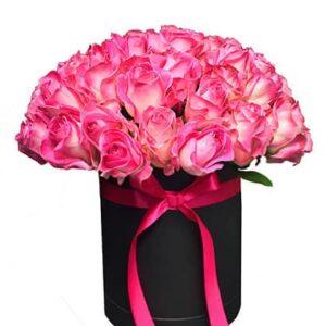 Box/Scatola circolare alta da 30 rose
