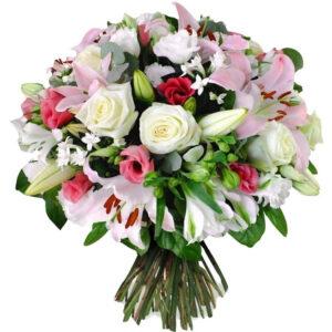 Bouquet fiori di stagione colori bianco e rosa
